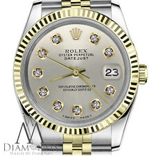 Silver 18KGold Stainless Steel 2Tone Rolex 26mm Datejust Diamond Numbers Jubilee