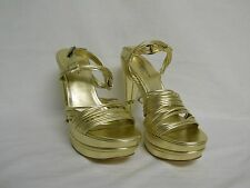 Via Spiga New Store Display Womens Aida Gold Leather Platform Heels 10 M Shoes