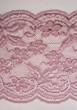 "2yd / 1.8 mts Rose Mauve Flower Stretch Lace Trim 6"" 15.2cm width L523"