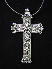 """JJ"" Jonette Jewelry Silver Pewter FILIGREE Cross 30"" Necklace"
