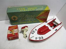 SPEED BOAT WITH OUTBOARD MOTOR NEAR MINT IN BOX FLAIR CRAFT BATTERY OP JAPAN