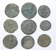 LOT OF 9 ANCIENT ROMAN BRONZE COINS FOR CLEANING - ARTIFACTS EXCELLENT - B745