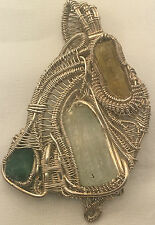Sterling Silver Beryl(Emerald, Heliodor, and Aquamarine) Pendant Wire Wrap
