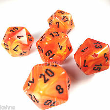 Set of 5 D20 Chessex Dice RPG D&D - Vortex Orange w/ Black #s - 20 sided