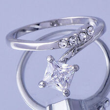 Fashion Perfect Womens Crystal Ring White Gold Filled Size 5 Free Shipping