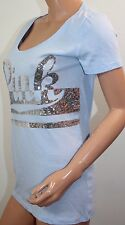 VICTORIA'S SECRET Pink Crew-Neck T-Shirt Sequins Bling Blue,Silver Large NWT