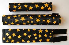 FLITE old school BMX bicycle padset foam racing pads STARS - BLACK & YELLOW