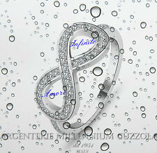 ANELLO INFINITO ARGENTO 925 ENDLESS LOVE INFINITY RING BRILLANTI ROD ORO BIANCO