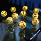 6mm Round Yellow Gold Plated Hollow BALL Jewelry Spacer Beads 50 pcs