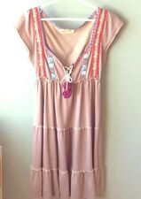 Free People Boho Embroidered Jersey Tiered Dress With Pom Pom Detail S Euc
