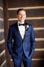 Custom Royal Blue Mens Wedding Groom Tuxedo Bridegroom Groomsmen Best Men Suits