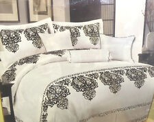 DOUBLE BED ARMENIA 7 PIECE BEDSPREAD QUILTED COMFORTER FLORAL DAMASK WHITE BLACK