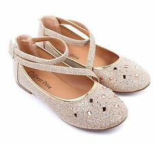 Champagne Cute Glitter Kids Blink Blink Sneakers Girls Flats Youth Shoes Size 3
