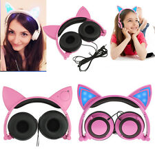 Foldable Cat Ear LED Light Headphone Headset Music Ear-buds Earphone for Phone