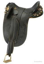 16 Inch Australian Stockpoly Saddle-Black Leather-No Horn-Regular Tree