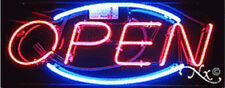 "NEW ""OPEN"" 32x13x3 OVAL BORDER REAL NEON SIGN w/CUSTOM OPTIONS 10153"