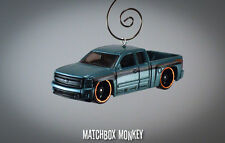 Blue Chevy Silverado 1500 Pickup Truck Custom Christmas Ornament 1/64 Chevrolet