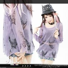 japan vivi street punk monarch butterfly see through distressed jumper【J2W0006】P