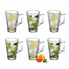 Vinsani 6 Pack Latte Glass Tea Coffee Café Mocha Cappuccino Hot Drink Cup 250ml