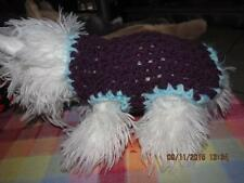 Dog Apparel PURPLE with BABY BLUE TRIM Sweater XXS