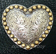 ANTIQUE SILVER HEART GOLD BERRY SADDLE CONCHO 1 inch screw back