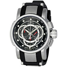 New Mens Invicta 0893 S1 Rally Sport Swiss Chrono Silver Black Dial Rubber Watch