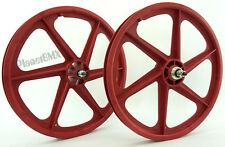 "Skyway RED 20"" Six Spoke TUFF WHEELS Mag SET old school BMX sealed USA-made"