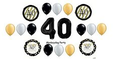 18pc BALLOON set 40th BIRTHDAY classy BLACK silver GOLD gift SPARKLE swirl PARTY
