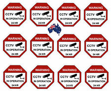 CCTV Camera Warning Stickers, Surveillance Vinyl Decal, Video Security Sign X12