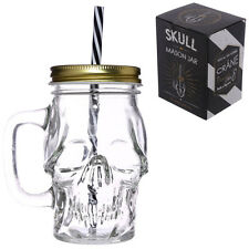 NEW 13CM Fun Gothic Skull Shaped Glass Drinking Jar with Metal Lid & Straw JAR29