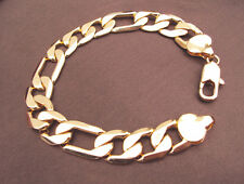 Thick Chain Watch Link Fashion 18K solid Gold Stamp Filled Men's Bracelet 8.6""