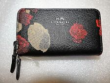 COACH Leather Small Double Zip Coin Card Case Wallet - Black Multi Floral  $98
