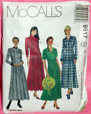 Uncut McCalls Misses 12-16 Front Pleated Long or Short Sleeve Dress Pattern 9517