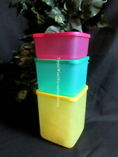 Tupperware NEW Set of 3 Modular Square Round Rounds Container Pink Green