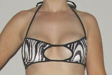Wicked Temptations Velvet Sparkle Cut Out Bikini Top - Zebra