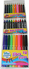 30 PIECE COLOURING / COLOUR FELT TIP PENS, PENCILS & WAX CRAYONS SET - NEW