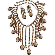 Kramer Waterfall Bib Necklace Earrings Set Brown Rhinestones Vintage 1950s