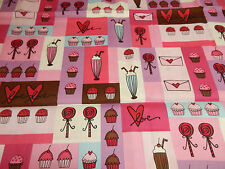 """SODA SHOP ICE CREAM CUP CAKE FABRIC~SEW QUILT-27""""-END OF BOLT-SOLD OUT-CLEARANCE"""