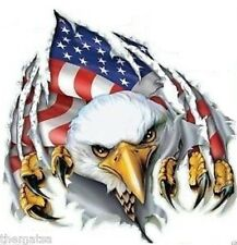 AMERICAN FLAG EAGLE HELMET BUMPER STICKER DECAL MADE IN USA