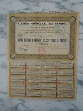 Action Casino municipal de Bandol  action categorie A ordinaire au porteur 1930