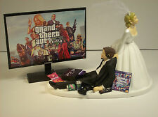 GAMER Bride & Groom FUNNY Wedding CAKE TOPPER Video GAME Groom's Cake GTA V 1
