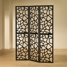 3 Panels Stylish Room Divider Folding Screens Shoji Carved Out Accent Details