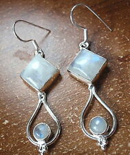 Moonstone in Hoop 925 Sterling Silver Earrings Dangle Drop Double Gem New