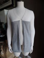 BELFORD Cream And Gray 100% Cashmere 1 Button Cardigan Sweater S