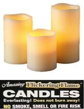 3 PACK FLICKERING FLAME CANDLES GLOW DANCER CANDLE LIGHT REAL WAX BATTERY CANDLE