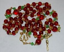 Red Crack Crystal 8&10mm Capped Christmas 2016 Handmade Catholic Rosary