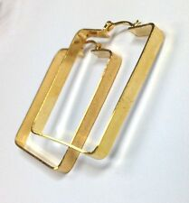 """New! Unique Square 18K Yellow Gold Layered Hoop Earrings 1.5x1.3"""""""