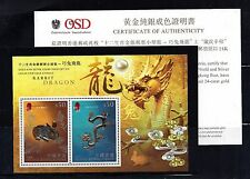 HONG KONG 2012 LUNAR NEW YEAR OF THE DRAGON $100 GOLD/SILVER S/S VF MNH-ANIMAL
