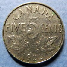 *Vintage  1922 CANADA  5 CENTS COIN, Very Fine Circulated KING GEORGE V COIN