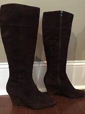 Bandolino Women Dark Chocolate Brown Suede Leopard Wedge Tall Boot Size 9